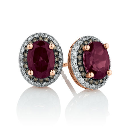 Stud Earrings with Garnet & 0.40 Carat TW of White & Brown Diamonds in 14ct Rose Gold