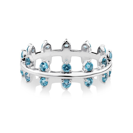 Double Zipper Ring with Natural Blue Topaz in Sterling Silver