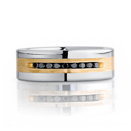 Men's Ring with a 1/4 Carat TW of Enhanced Black Diamonds in Sterling Silver & Tungsten