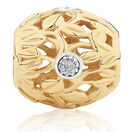 Diamond Set Leaf Pattern Charm in 10ct Yellow Gold