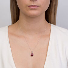 Online Exclusive - Pendant with Created Ruby & 0.15 Carat TW Diamonds in 10ct White Gold