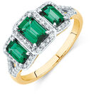 Three Stone Ring with Created Emerald and 1/4 Carat TW of Diamonds in 10ct Yellow Gold