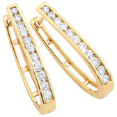 Hoop Earrings with 1 Carat TW of Diamonds in 10ct Yellow Gold