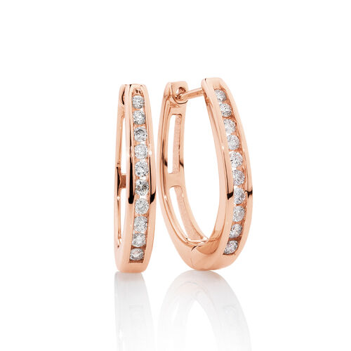 Huggie Earrings with 0.33 Carat TW of Diamonds in 10ct Rose Gold