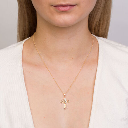 Cross Pendant in 10ct Yellow, White & Rose Gold