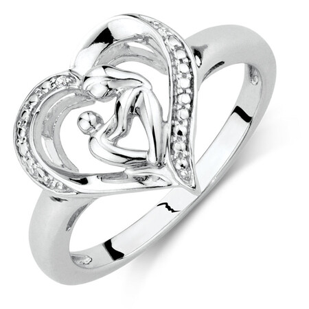 Mother & Child Ring in Sterling Silver