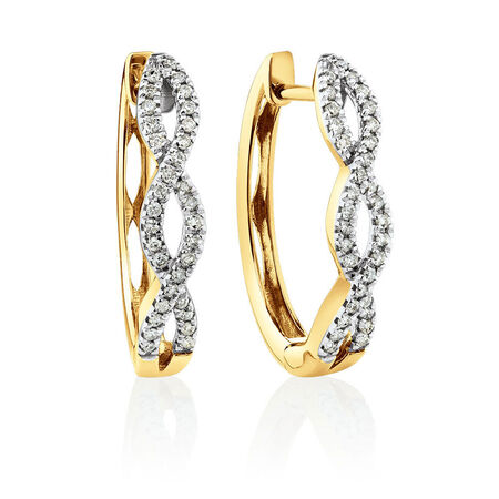 Huggie Earrings with 1/4 Carat TW of Diamonds in 10ct Yellow Gold