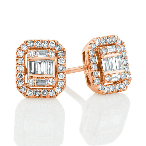 Rectangular Diamond Stud Earrings with 0.30 Carat TW of Diamonds in 10ct Rose Gold