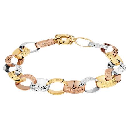 "19cm (7.5"") Belcher Bracelet in 10ct Yellow, White & Rose Gold"
