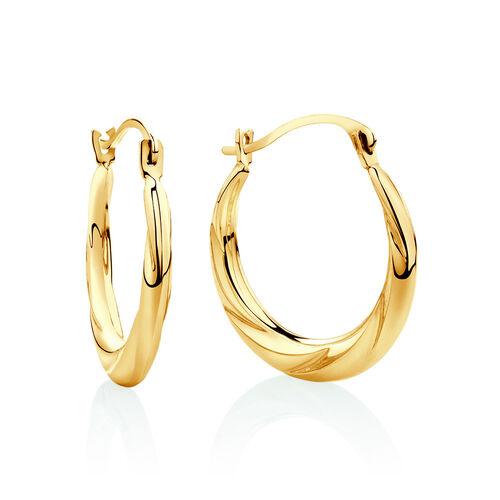 17mm Patterned Hoop Earrings In 10ct Yellow Gold
