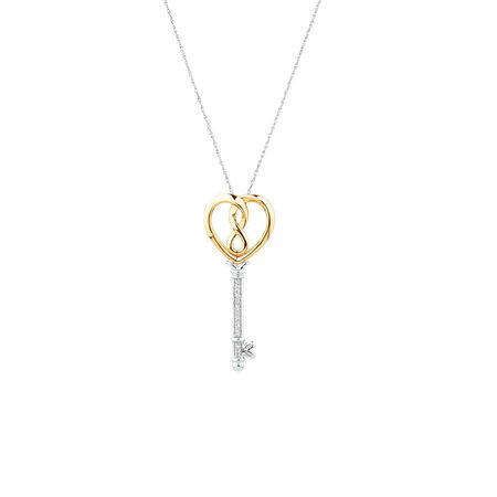 Infinitas Key Pendant with Diamonds in Sterling Silver and 10ct Yellow Gold
