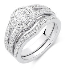 Bridal Set with 1 1/4 Carat TW of Diamonds in 18ct White Gold