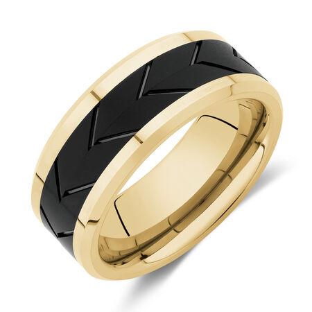 8mm Ring in Yellow & Black Tungsten