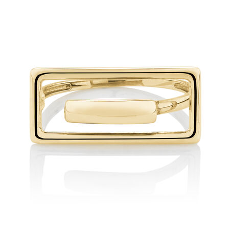 Fancy Rectangle Ring in 10ct Yellow Gold