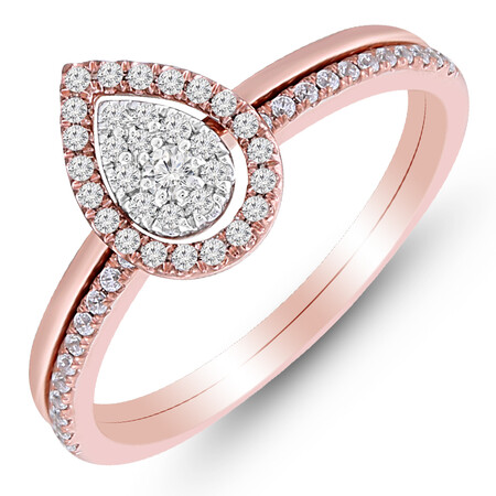 Pear Ring with 0.25 Carat TW of Diamonds in 10ct Rose & White Gold