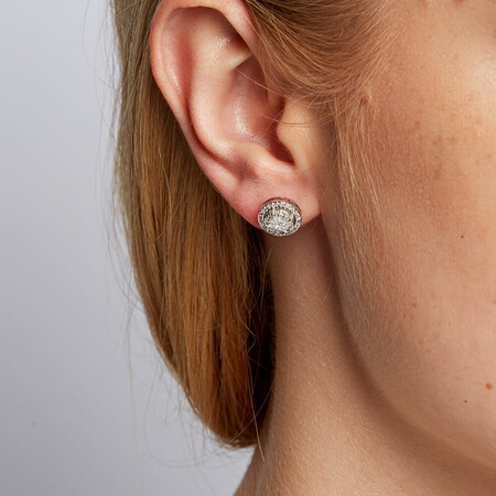 Halo Stud Earrings with 1/2 Carat TW of Diamonds in 10ct White Gold