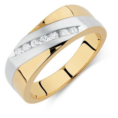 Men's Ring with 0.20 Carat TW of Diamonds in 10ct Yellow & White Gold