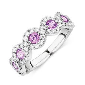Bubble Ring With Natural Pink Sapphire & 0.46 Carat TW of Diamonds In 14ct White Gold