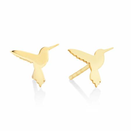 Hummingbird Stud Earrings In 10ct Yellow Gold