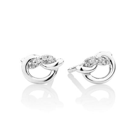 Mini Knot Stud Earrings with Diamonds in Sterling Silver