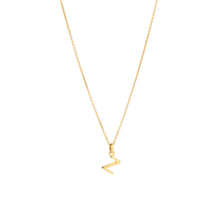 """""""Z"""" Initial Pendant with Chain in 10ct Yellow Gold"""