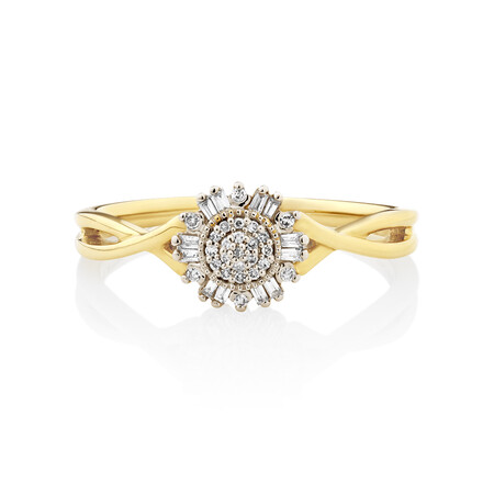 Evermore Promise Ring with 0.10TW of Diamonds in 10ct Yellow Gold