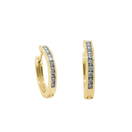 Channel Set Huggie Earrings with 0.25 Carat TW of Diamonds in 10ct Yellow Gold
