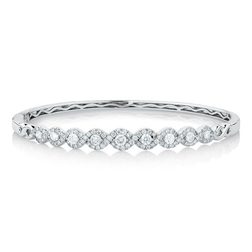 Bangle with 1 1/2 Carat TW of Diamonds in 14ct White Gold