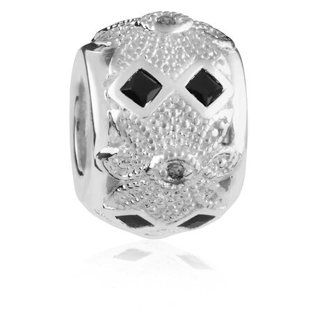Diamond Set & Black Cubic Zirconia Art Deco Charm