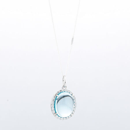 Online Exclusive - Halo Pendant with Blue Topaz & Cubic Zirconia in Sterling Silver