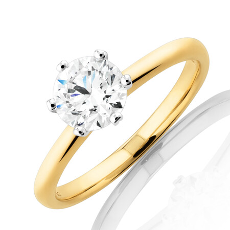 Michael Hill Solitaire Engagement Ring with a 1 Carat TW Diamond with the De Beers Code of Origin in 18kt Yellow & White Gold