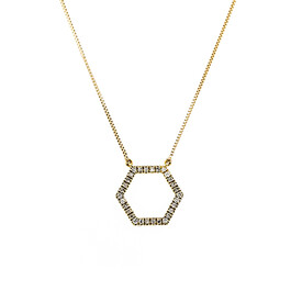 Hexagon Pendant with Diamonds in 10ct Yellow Gold