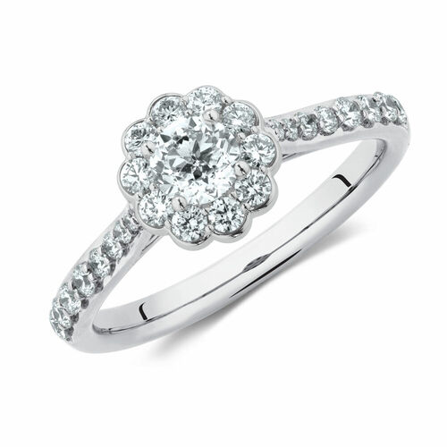 Southern Star Engagement Ring with 3/4 Carat TW of Diamonds in 14ct White Gold