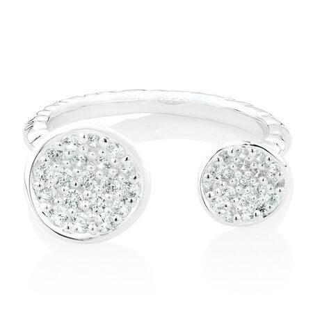 Double Ring with Cubic Zirconia in Sterling Silver