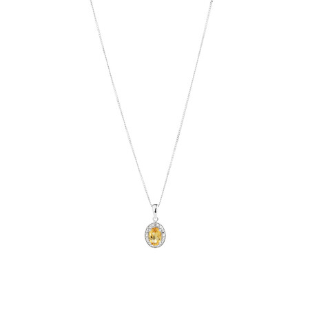 Halo Pendant with Citrine and 0.04 TW of Diamonds in Sterling Silver