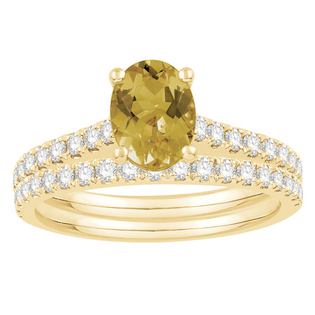 Bridal Set with Yellow Sapphire & 0.69 Carat TW of Diamonds in 14ct Yellow Gold