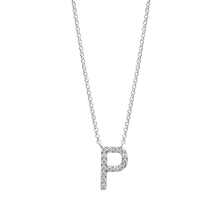 """P"" Initial necklace with 0.10 Carat TW of Diamonds in 10ct White Gold"