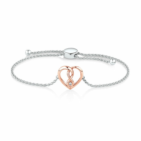 Infinitas Bracelet with Diamonds in Sterling Silver & 10ct Rose Gold