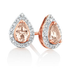 Earrings with Morganite & Diamonds in 10ct Rose Gold