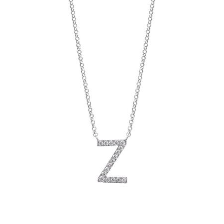 """""""Z"""" Initial necklace with 0.10 Carat TW of Diamonds in 10ct White Gold"""