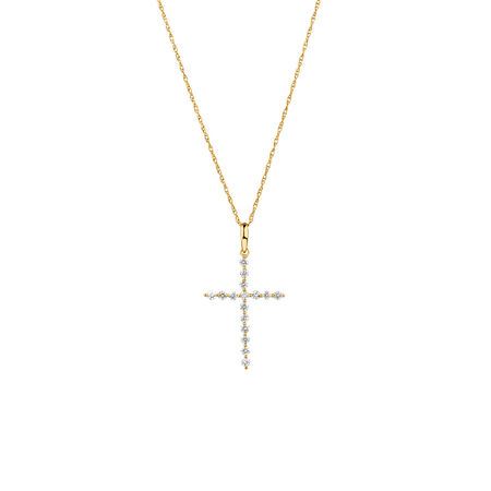 Cross Pendant with 1/4 Carat TW of Diamonds in 10ct Yellow Gold