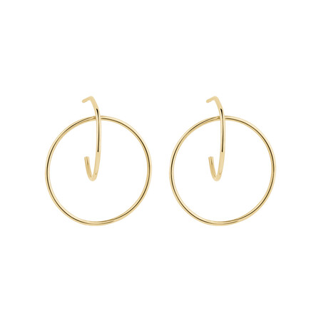 Circle Loop Earrings in 10ct Yellow Gold