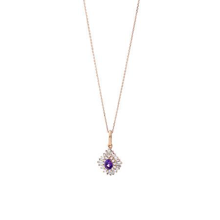 Ballerina Pendant with Amethyst & 0.25 Carat TW of Diamonds in 10ct Rose Gold