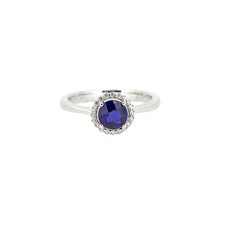 Halo Ring with Created Sapphire and Cubic Zirconia in Sterling Silver