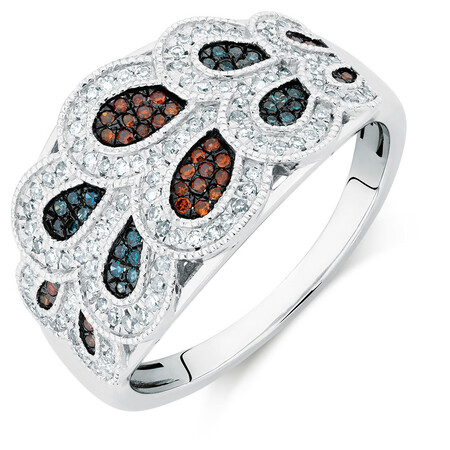 Online Exclusive - Ring with 0.40 Carat TW of Enhanced Blue & Enhanced Brown Diamonds in Sterling Silver