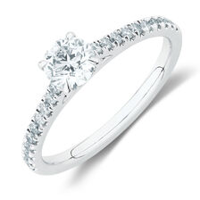Engagement Ring with 0.78 Carat TW of Diamonds in 14ct White Gold