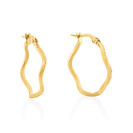 Wave Hoop Earrings in 10ct Yellow Gold