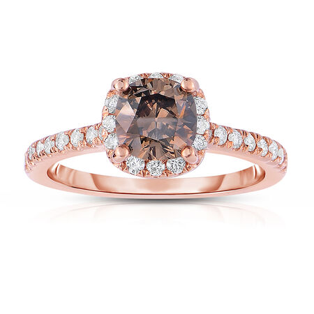 Ring with 1.04 Carat TW of Brown & White Diamonds in 14ct Rose Gold