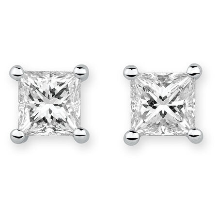 Stud Earrings with 1 Carat TW of Diamonds in 18ct White Gold