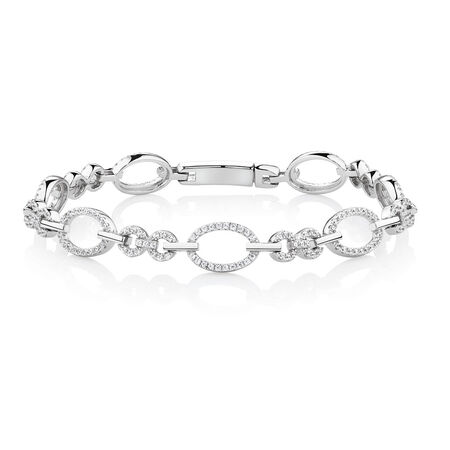 Oval Link Bracelet with Cubic Zirconia in Sterling Silver